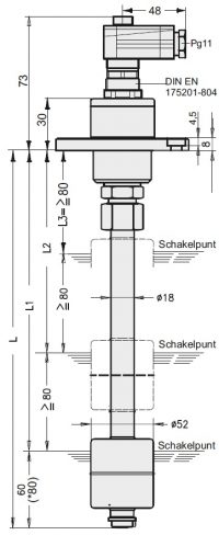 KFI-O Niveau-temperatuurschakelaar